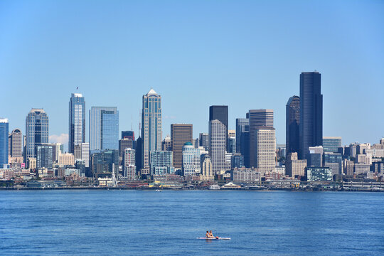 View of Downtown Seattle on a warm sunny Summer Day from Alki