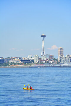 Kayaking off the coast of Alki Beach in West Seattle on a warm sunny Summer Day.
