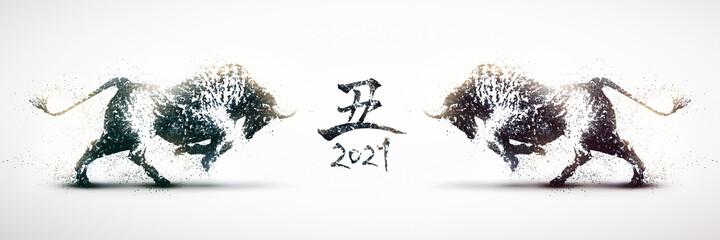 向かい合う闘牛のシルエット 2021年丑年のバナー 白黒の粒子