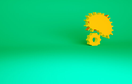 Orange Virus icon isolated on green background. Corona virus 2019-nCoV. Bacteria and germs, cell cancer, microbe, fungi. Minimalism concept. 3d illustration 3D render.