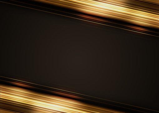 高級感のある斜線のフレーム素材(黒背景)