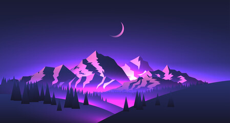 Night mountains landscape with mountains peaks and valleys with purple glowing and moon. Travel adventure themed vector illustration