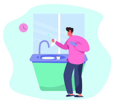 Man Washing the Dishes and Cleaning Kitchen.Housework Routine, Domestic Working.Cleanliness and House Interior.Guy Washes Dirty Dishes on Kitchen Sink.Flat Vector Illustration