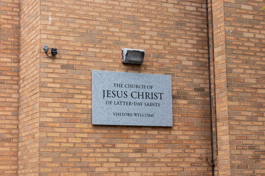 08/13/2019 Portsmouth, Hampshire, UK The sign on a mormon church reading the church of jesus christ and the latter day saint