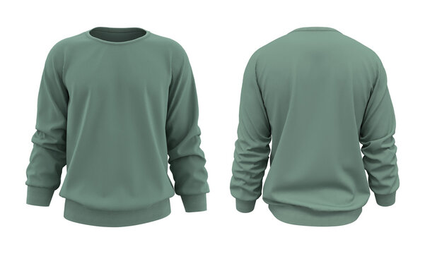 Blank sweatshirt mock up template in front, and back views, isolated on white, 3d rendering, 3d illustration
