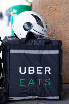 Warsaw/Poland, April 4, 2018:  Uber Eats bag left on the pavement
