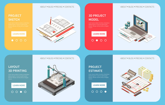 Isometric Architect Banners Set