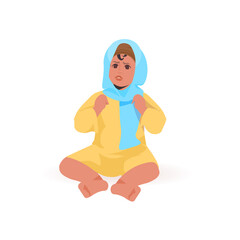 Wall Mural - cute little child playing arabic baby girl sitting pose female cartoon character full length isolated vector illustration