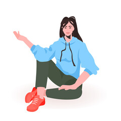 Wall Mural - beautiful girl in casual clothes female cartoon character sitting pose full length vector illustration