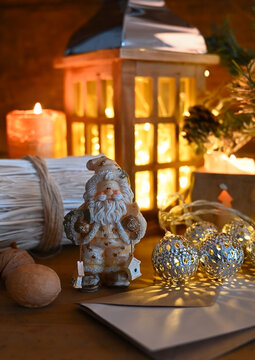 Holiday setting with Christmas tree decorations