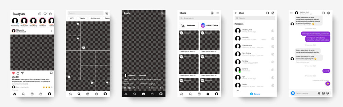 Instagram 2021 updated screen mockup, with built-in Reels / Stores / Messenger. Screen account, Home, Search, Reels, Stores, Messenger. Isolated on transparent background with realistic shadow.