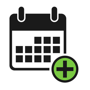 Calendar icon add, date event symbol isolated on white background. Vector web button
