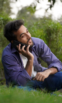 Indian man talking on a mobile phone