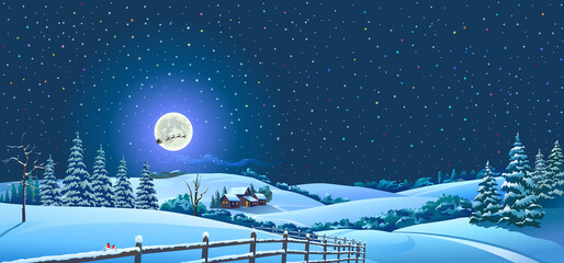 Snowy landscape of a forest and an isolated town with a silhouette of Santa and his reindeer.