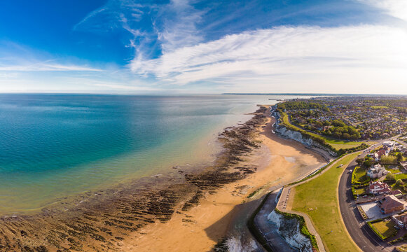Drone aerial view of the beach and white cliffs, Margate, England, UK