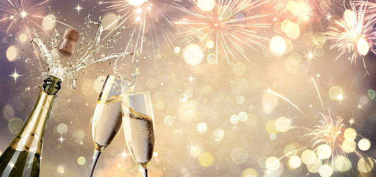 Celebration With Champagne And Flutes - Defocused Abstract Background
