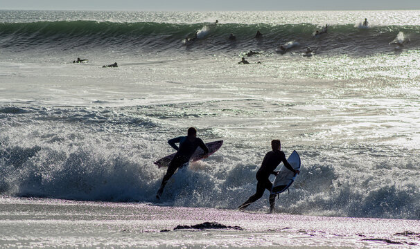 Vendée, France, November 28, 2020: from the Sauzaie spot, two surfers throw themselves into the silver ocean, Bretignolles Sur Mer.