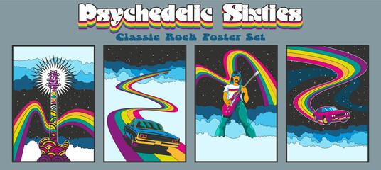 Fototapeta 1960s Rock Music Posters, Album Covers Stylization, Guitarist, Muscle Car, Guitar, Rainbows and Skies obraz