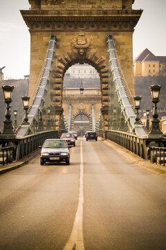 Cars on Chain Bridge, Budapest
