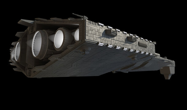 Light Spaceship Battle Cruiser - Right Side Rear View, 3d digitally rendered science fiction illustration