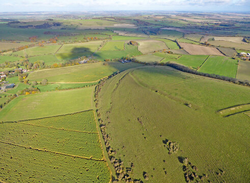 Aerial view of the fields at Monks Down in Wiltshire