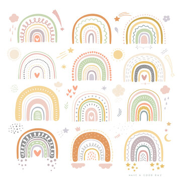 Rainbow colored. Baby illustration. Vector