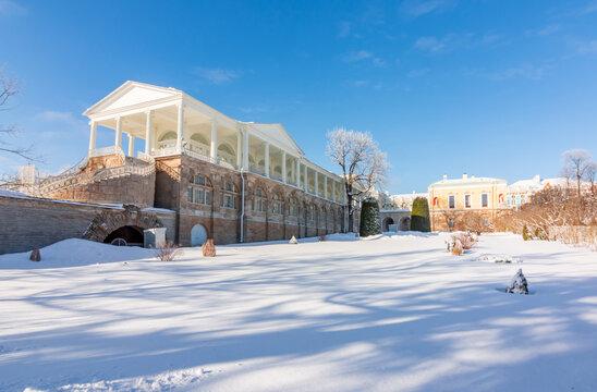 Cameron gallery of Catherine palace in winter, Tsarskoe Selo (Pushkin), Saint Petersburg, Russia