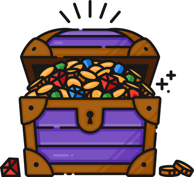 Treasure Chest Filled Outline Icon