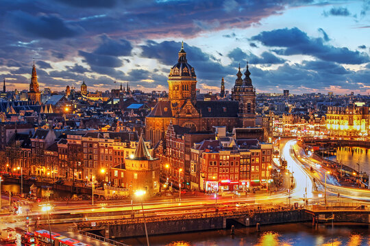 Amsterdam centre overview at night, Netherlands