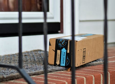 Amazon Box Shipped to Residential House Internet Order Delivery