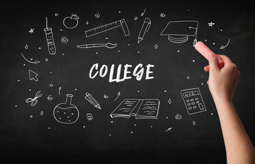 Hand drawing COLLEGE inscription with white chalk on blackboard, education concept