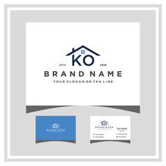 Fototapeta letter KO roof logo design and business card vector obraz