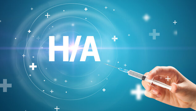 Syringe needle with virus vaccine and H/A abbreviation, antidote concept