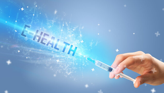Syringe, medical injection in hand with E-HEALTH inscription, medical antidote concept