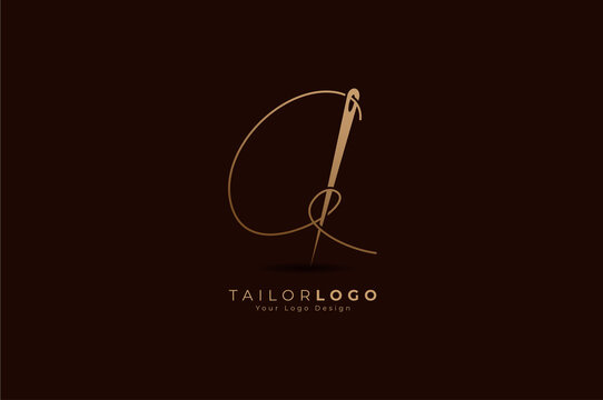 Abstract Initial A Tailor logo, thread and needle combination with gold colour line style , Flat Logo Design Template, vector illustration