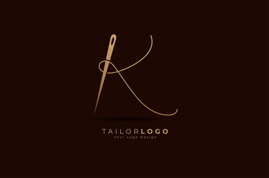 Abstract Initial K Tailor logo, thread and needle combination with gold colour line style , Flat Logo Design Template, vector illustration