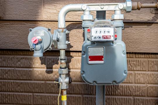 residential gas meter and pressure regulator