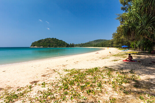 Sunbathing on Layan Beach, Bang Tao Bay, Phuket, Thailand