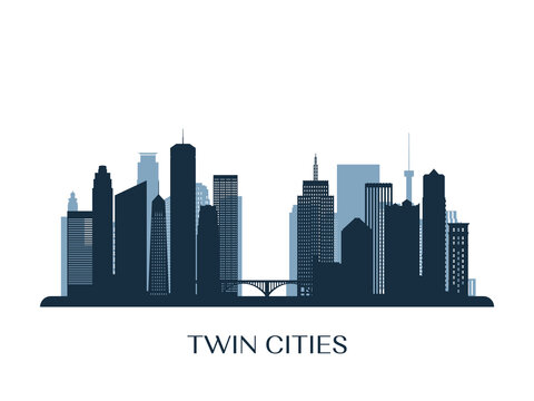 Twin Cities skyline, monochrome silhouette. Vector illustration.