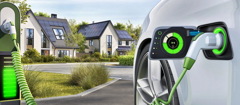Electric car charging stations. Modern houses with photovoltaic solar panels on the roof for alternative energy