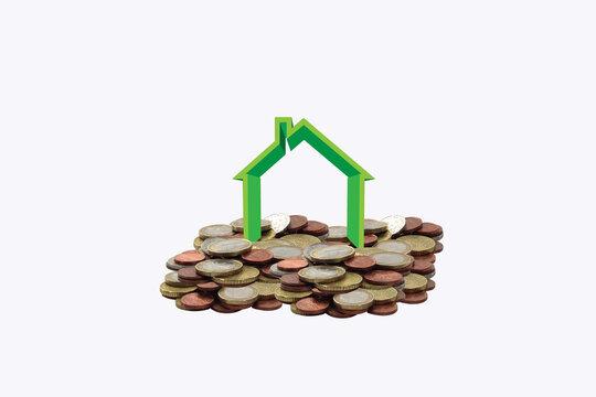 house logo over euro coins