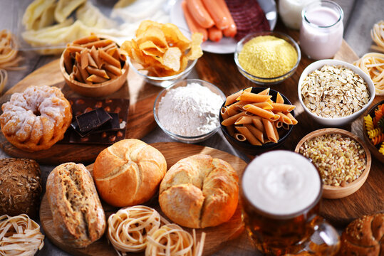 Composition with variety of food products containing gluten