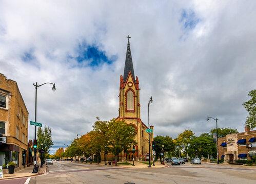 Street view in Skokie Town of Illinois