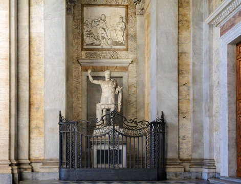 Marble statue of Constantine I the Great. Lateran Basilica. Rome. Italy.