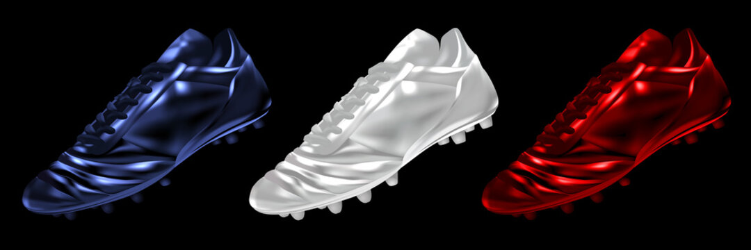 3d soccer football boots in colors set isolated on a black background, vector illustration
