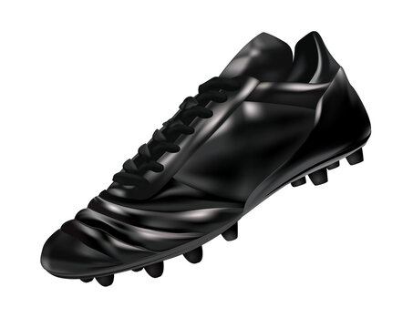 3d Black leather soccer boot/cleat isolated on a black background, vector illustration
