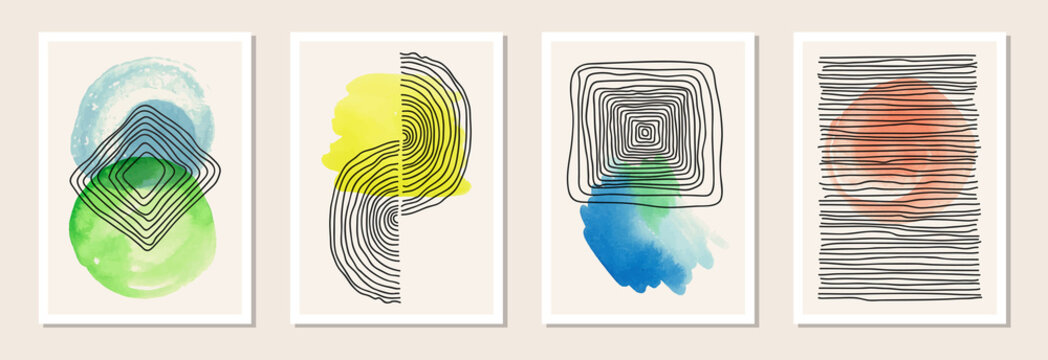 Contemporary hand drawn wall art with watercolor. Set of abstract artistic compositions. Line art geometry symbols. Printable wall art. Vector EPS10 illustration