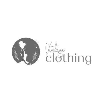 Vintage clothing logo. Vintage dress logo template. Fashion lady logo. Luxury clothing logo.