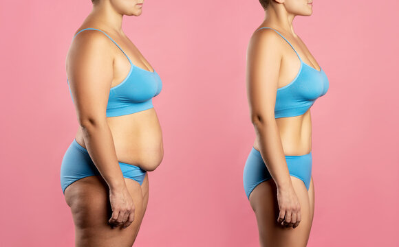 Woman's body before and after weight loss on pink background