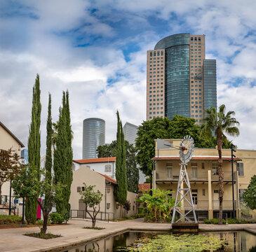 Cityscape of Sarona  market area in Tel Aviv, Israel.